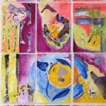 Belle année - Aquarelle et collage sur papier strathmore - 114 x 58.5 cm /45.5 x 23.5 po
