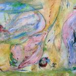 Réveil- printemps - Acrylique sur papier mylar - 58 x 92 cm - 23 x 36 po