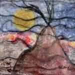 La Hutte - Techniques mixtes sur papier mylar marouflé sur toile - 31 x 31 cm /12 x 12 po