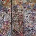 Se méfier du loup, triptyque - Techniques mixtes sur papier mylar marouflé sur toile - 61 x 46 cm /24 x 18 po