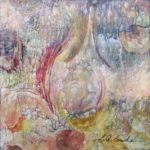 Jardin de bonheur - Techniques mixtes sur papier mylar marouflé sur toile - 31 x 31 cm / 12 x 12 po VENDU